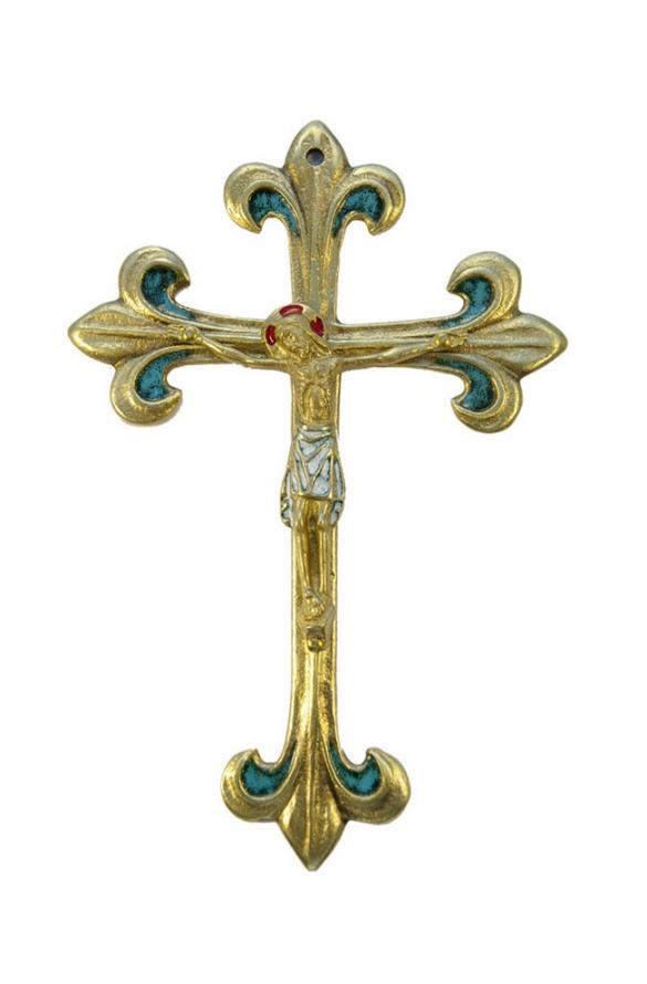 0177-810-Crucifix-pagne-blanc-lys-vert-croix-fleur-lys-17cm