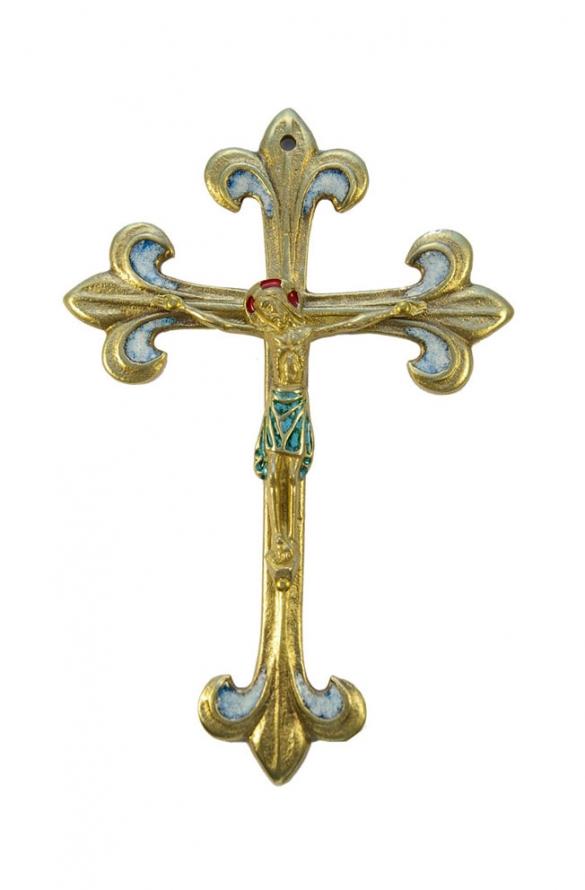 0177-810-Crucifix-pagne-vert-lys-blanc-croix-fleur-lys-17cm