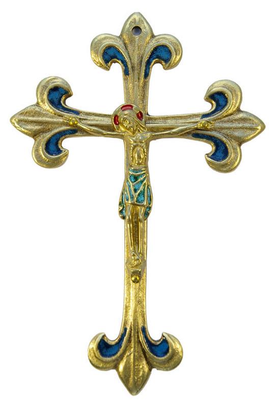 0177-810-Crucifix-pagne-vert-lys-bleu-croix-fleur-lys-17cm