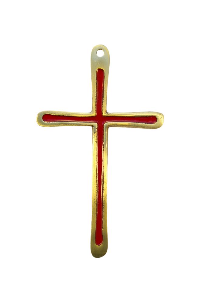 Croix d'aube fine en bronze émaillé.