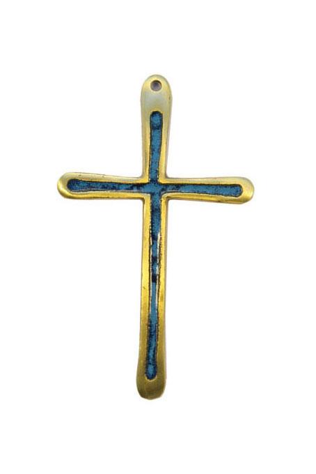 0194-Croix-emaillee-bleu-10cm