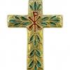Croix murale avec chrisme en bronze - émaux verts turquoise et rouges
