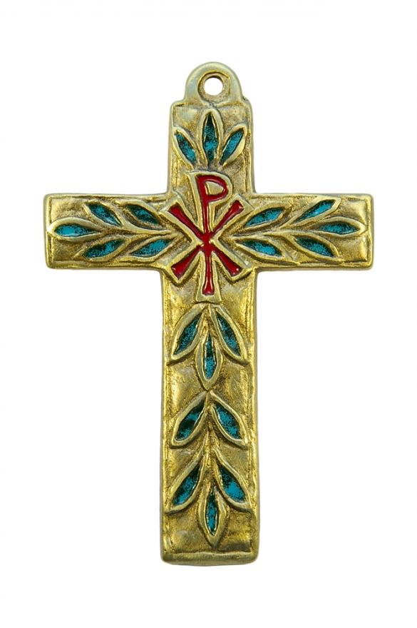 Croix murale avec chrisme en bronze – émaux verts turquoise et rouges