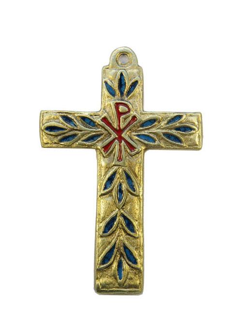 0196-Croix-murale-bronze-emaux-bleu-11cm