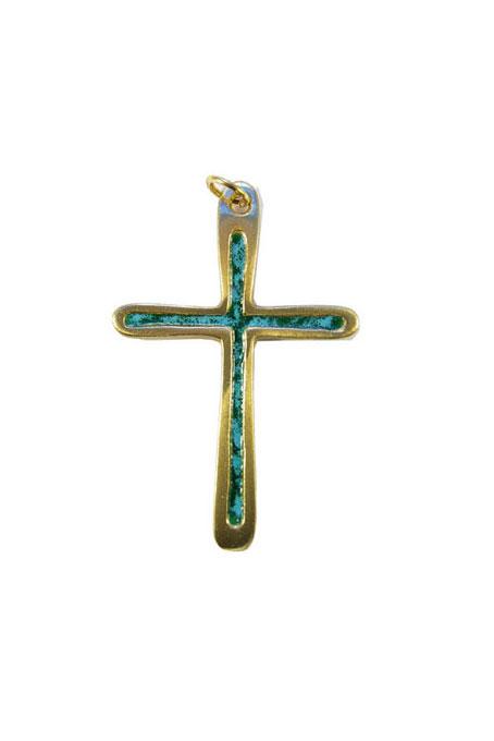 0211-Croix-pendentif-cadeau-communion-emaux-vert-7cm