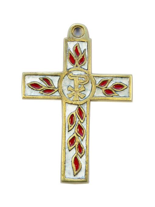 Croix latine, en bronze émaillé Chrisme et rameaux