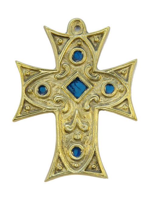 0215-Croix-murale-bronze-emaux-bleue-11-5cm