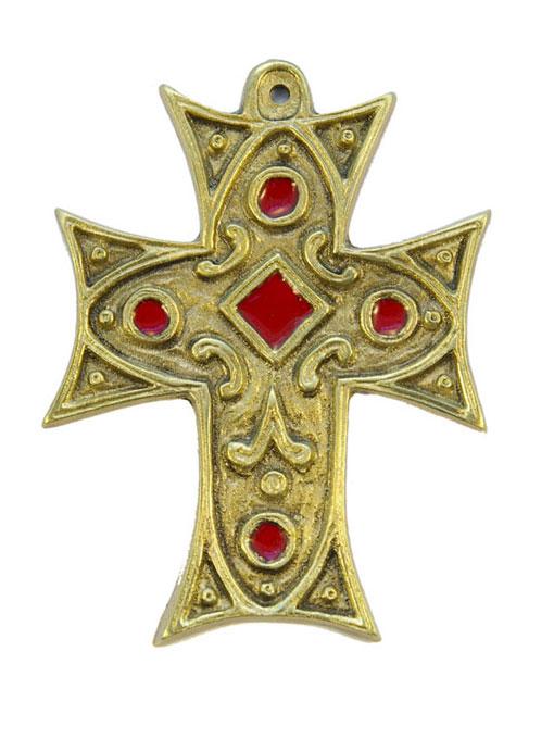 0215-Croix-murale-bronze-emaux-rouge-11-5cm
