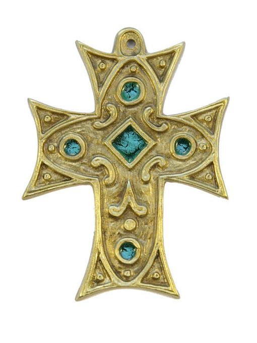 0215-Croix-murale-bronze-emaux-vert-11-5cm