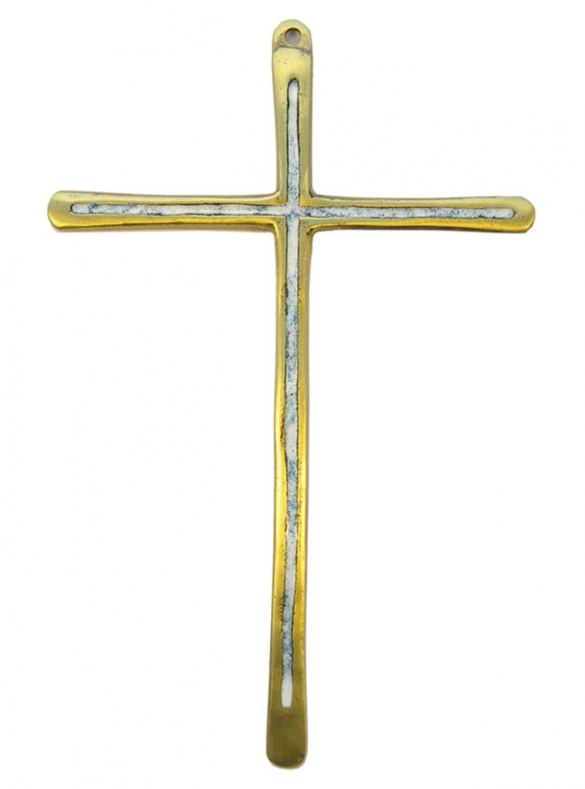 030-Croix-murale-bronze-emaux-blanc-19-5-cm