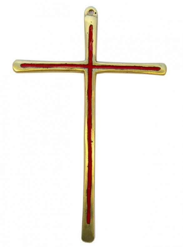 030-Croix-murale-bronze-emaux-rouge-19-5-cm