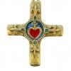 Croix Sacré-Coeur et fleur de Lys, bronze et émaux grand feu