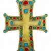 Croix murale décorative - riche croix pommetée et cabochons