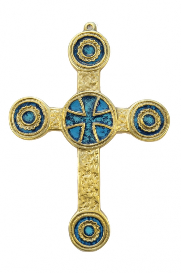 074-Croix-murale-bronze-emaux-bleu-19-cm
