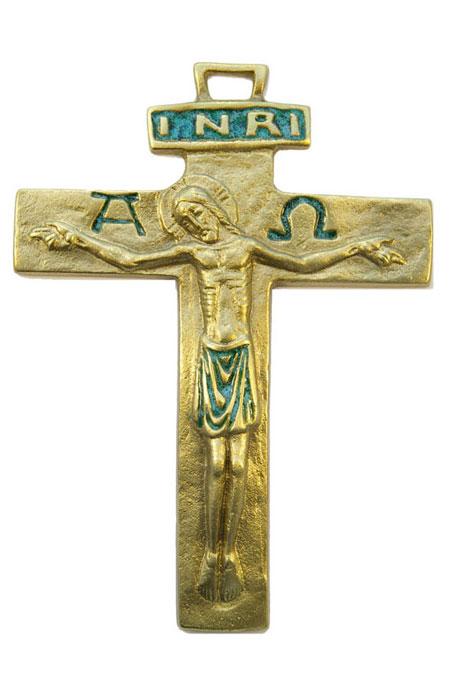 430-Crucifix-emaux-vert-13cm
