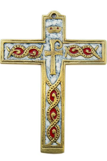 881-Croix-murale-bronze-emaux-blanc-14cm
