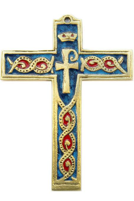 881-Croix-murale-bronze-emaux-bleu-14cm