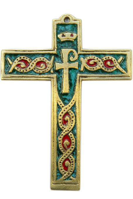 881-Croix-murale-bronze-emaux-vert-14cm