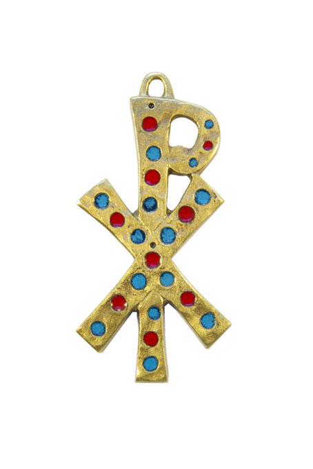 882-Chrisme-mural-bronze-emaux-inclusions-bleu-rouge-9-5cm