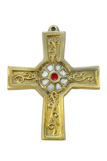 891-Croix-murale-bronze-emaux-blanc-10cm