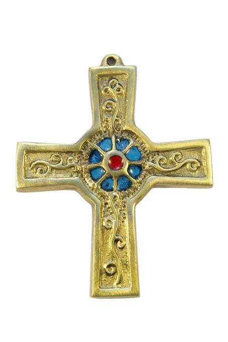 891-Croix-murale-bronze-emaux-bleu-10cm