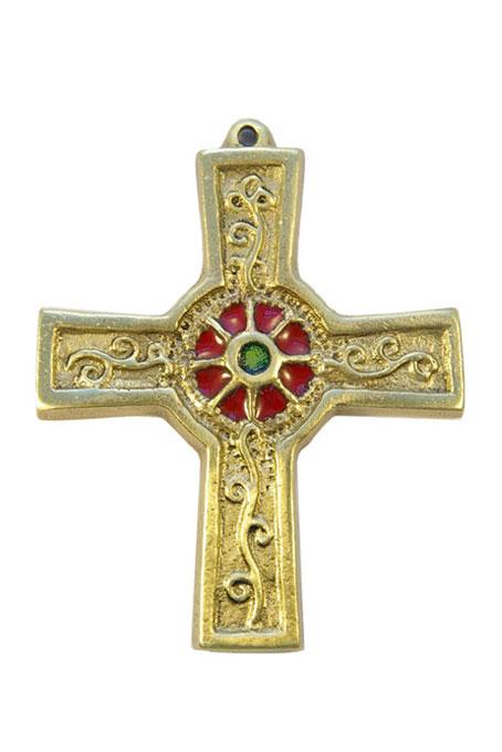 891-Croix-murale-bronze-emaux-rouge-10cm