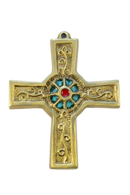 891-Croix-murale-bronze-emaux-vert-10cm