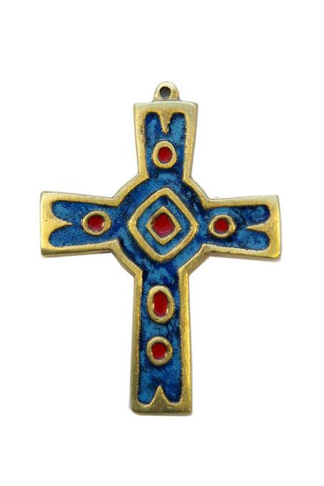 892-Croix-murale-emaux-grand-feu-bleu-10cm