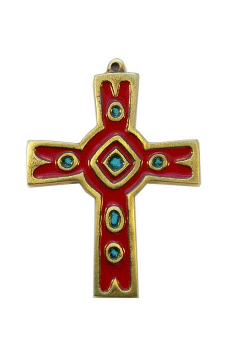 892-Croix-murale-emaux-grand-feu-rouge-10cm