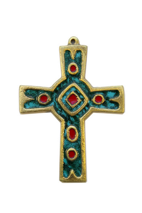 892-Croix-murale-emaux-grand-feu-vert-10cm
