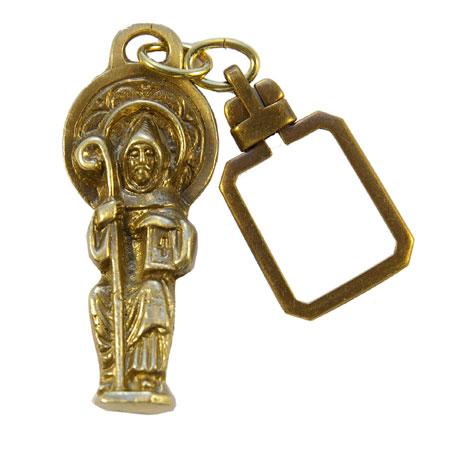 932PC-Porte-clefs-bronze-patine-Saint-Benoit