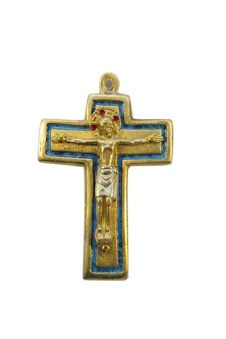 954-210-Christ-roman-bronze-emaux-bleu-9cm