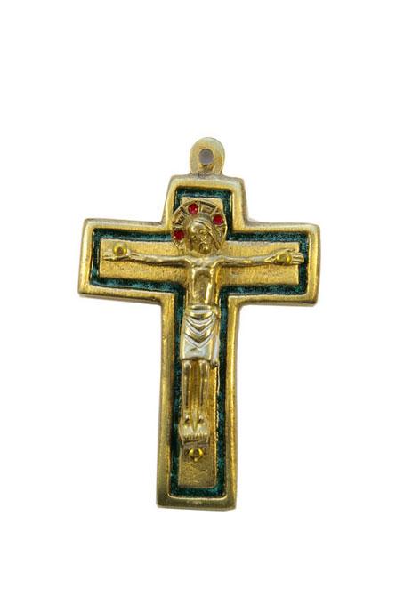 954-210-Christ-roman-bronze-emaux-vert-9cm