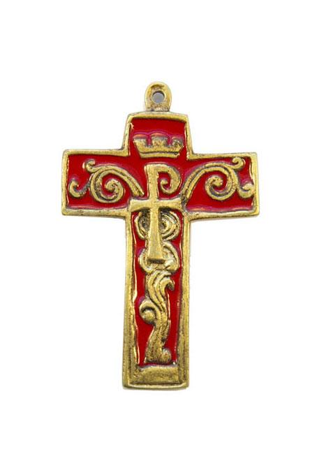 954-Croix-bronze-emaille-rouge-symboles-9cm