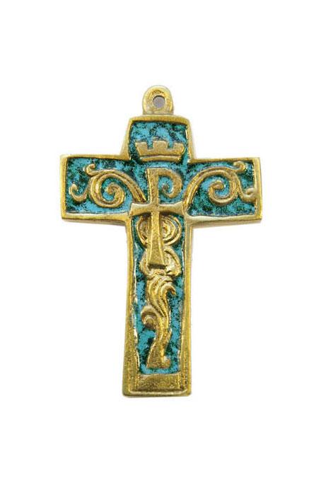 954-Croix-bronze-emaille-vert-symboles-9cm