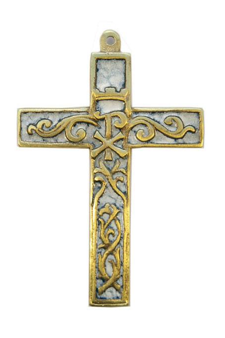 955-Croix-murale-bronze-emaux-blanc-12cm