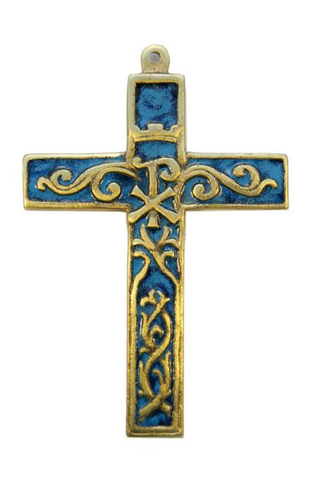 955-Croix-murale-bronze-emaux-bleu-12cm