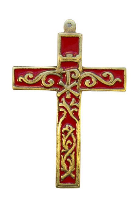 955-Croix-murale-bronze-emaux-rouge-12cm