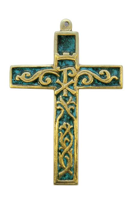 955-Croix-murale-bronze-emaux-vert-12cm