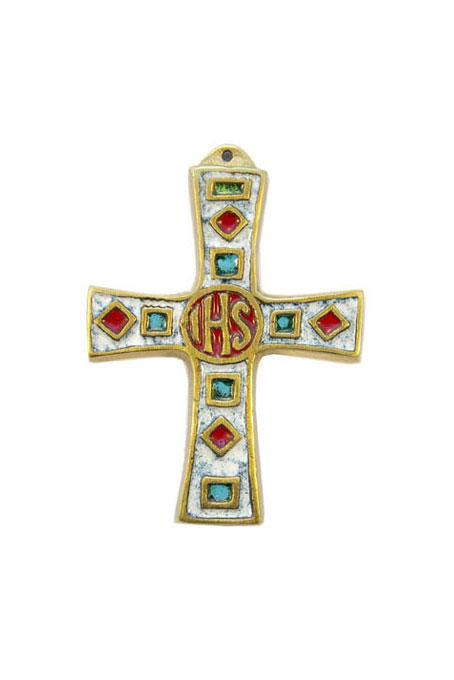 988-Croix-murale-bronze-emaille-blanc-8-5cm-1