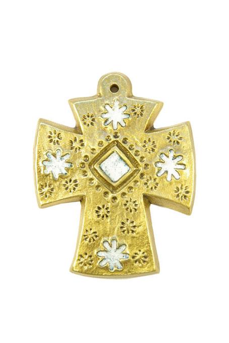 L28-Croix-decorative-murale-bronze-emaux-fleurs-blanches-9cm