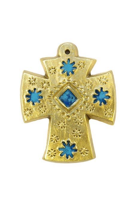 L28-Croix-decorative-murale-bronze-emaux-fleurs-bleues-9cm