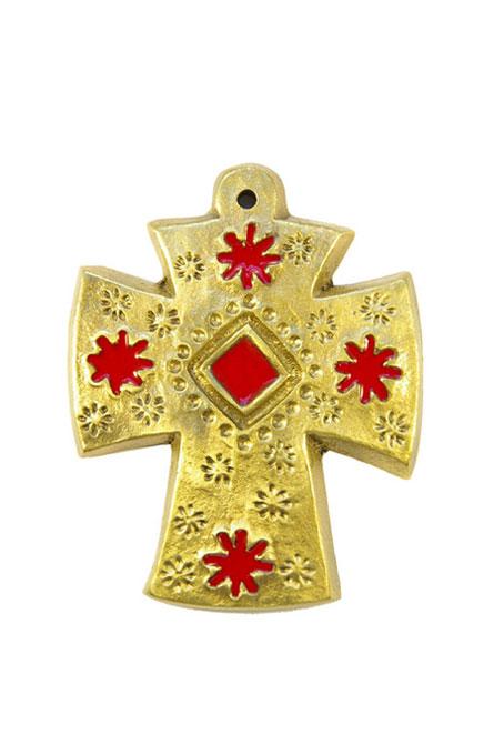 L28-Croix-decorative-murale-bronze-emaux-fleurs-rouges-9cm