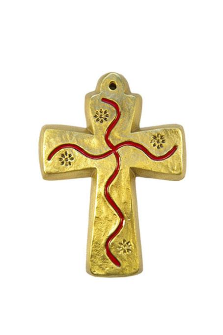 L30-Croix-murale-bapteme-bronze-emaux-rouge-motif-floral-9-5cm