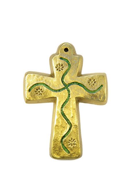 L30-Croix-murale-bapteme-bronze-emaux-vert-motif-floral-9-5cm
