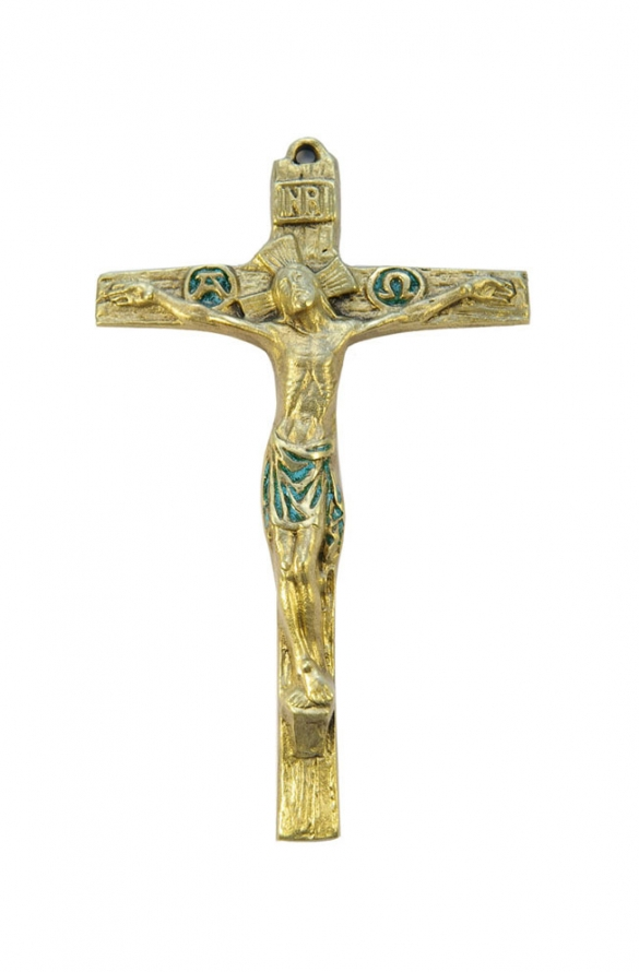 Grand crucifix en bronze émaillé orné des christogrammes