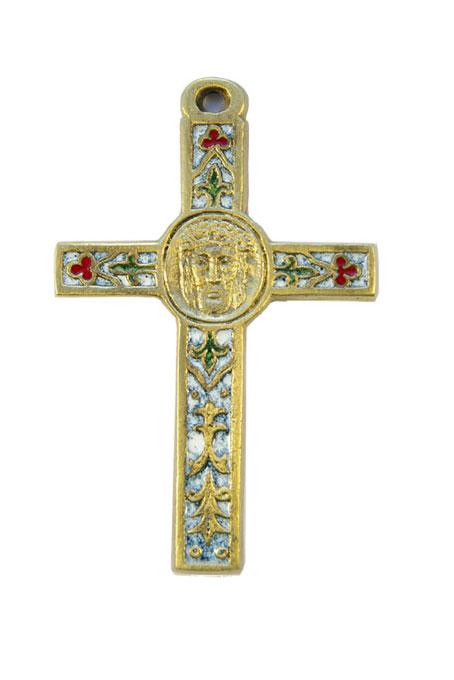 0105-Crucifix-emaux-blanc-decors-lys-trefles-cadeau-religieux-10cm