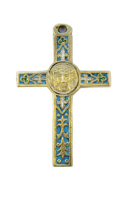 0105-Crucifix-emaux-bleu-decors-lys-trefles-cadeau-religieux-10cm