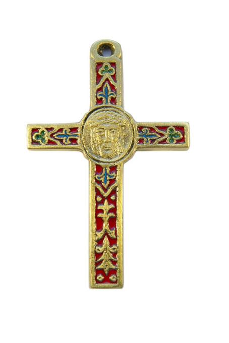 0105-Crucifix-emaux-rouge-decors-lys-trefles-cadeau-religieux-10cm.