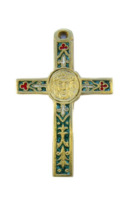 0105-Crucifix-emaux-vert-decors-lys-trefles-cadeau-religieux-10cm